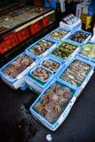 Beaucoup le genre de coquille fixent en vente aux poissons mA de matin de Hakodate Images libres de droits