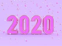 Beaucoup le type blanc rose de violette de sphère d'or/de scène 2020 pourpres/nombre abstraits 3d des textes rendent illustration libre de droits