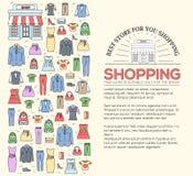 Beaucoup objectent acheté dans la boutique Concept de fond d'abrégé sur cercle d'achats Dans les lignes minces plates icônes de s Image stock