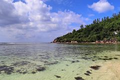 Beaufitful beach view of white beaches on the indian ocean island paradise Seychelles royalty free stock photo