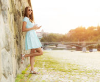 Beaufitul brunette young woman in city Stock Image