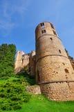 Beaufort城堡塔在卢森堡 图库摄影