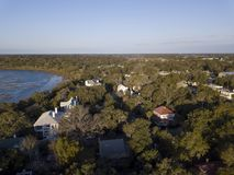 Beaufort,南Caroli镇空中低角度视图  库存照片