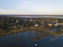 Beaufort,日落的南卡罗来纳鸟瞰图  库存图片