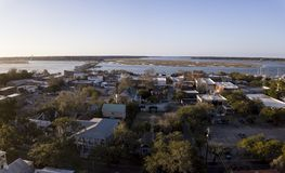 Beaufort, Atl的南卡罗来纳小镇鸟瞰图  免版税库存照片