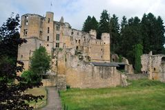 Beaufort Castle, Luxembourg. Outside view of the medieval Beaufort Castle in Beaufort, Luxembourg Stock Photos