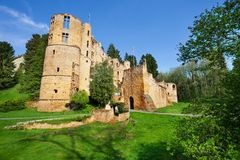 Beaufort castle tower ruins stock photo