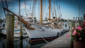 Beaufort, NC/US0November 24 2017:Brigantine `Fritha` at dock in marina. Two masted New Zealand built Brigantine `Fritha`tied to the pier in Beaufort, North stock image