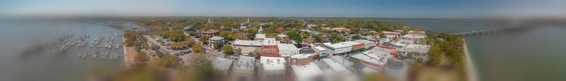 BEAUFORT, SC - APRIL 3, 2018: Aerial panoramic city view. This i. S a small town very famous for tourists stock photos