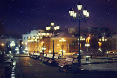 Beauiful night in square. At old town Royalty Free Stock Images