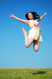 Beauitful girl jumping Royalty Free Stock Photos