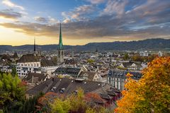 Beauitful sunset over Zurich in autumn royalty free stock images