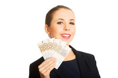 Beauitful woman holding some Euro currency Royalty Free Stock Photography