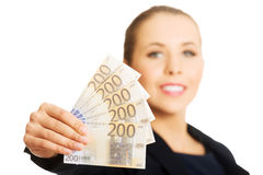 Beauitful woman holding some Euro currency Stock Photos