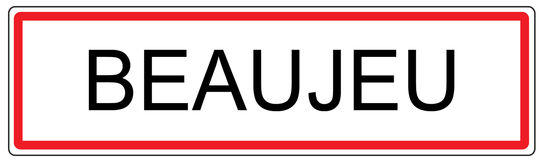 Beaujeu city traffic sign illustration in France Stock Photography