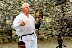 Beaulieu, Hampshire, UK - Maj 29 2017: Sokolnik z jego myszołowem Obraz Royalty Free