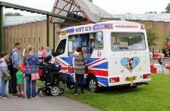 Beaulieu, Hampshire, UK - May 29 2017: Visitors to the 2017 999. Show queue for Ice Cream from a van Stock Photo
