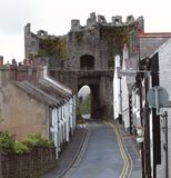 Beaumaris Castle. The castle at beaumaris, wales and a street from the town that grew up around it stock images