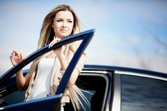Beauriful car driver Royalty Free Stock Photos