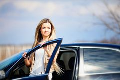 Beauriful car driver Stock Photos