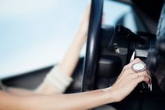Beauriful girl hands on wheel Royalty Free Stock Images