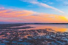Beauriful golden sunset at Inverloch Foreshore Beach Stock Images