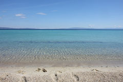Beauriful nuances of blue colour on the beach. Beauriful nuances of blue colour on the Aegean sea beach,Greece Royalty Free Stock Photography