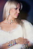 Beauriful woman in fur dress. Royalty Free Stock Photos
