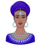 Beauté africaine Portrait d'animation de la jeune femme de couleur dans un turban Photos libres de droits