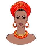 Beauté africaine Portrait d'animation de la jeune femme de couleur dans un turban Images libres de droits