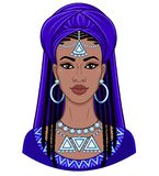 Beauté africaine Portrait d'animation de la jeune femme de couleur dans un turban Photos stock