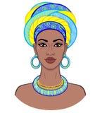 Beauté africaine Portrait d'animation de la jeune femme de couleur dans un turban Photographie stock