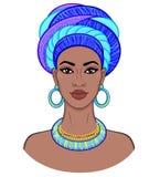 Beauté africaine Portrait d'animation de la jeune femme de couleur dans un turban Illustration Stock