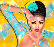 Beauté asiatique de femme, plan rapproché de visage, maquillage, cils et art de coiffure avec le fond coloré Image libre de droits