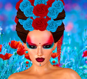 Beauté asiatique de femme, plan rapproché de visage, maquillage, cils et art de coiffure avec le fond coloré Images libres de droits