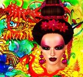 Beauté asiatique de femme, plan rapproché de visage, maquillage, cils et art de coiffure avec le fond coloré Photographie stock libre de droits