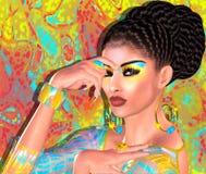 Beauté asiatique de femme, plan rapproché de visage, maquillage, cils et art de coiffure avec le fond coloré Image stock