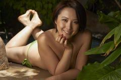 Beauté asiatique extérieure Images libres de droits