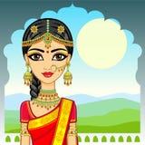 Beauté asiatique Portrait d'animation de la jeune fille indienne dans des vêtements traditionnels Princesse de conte de fées illustration de vecteur