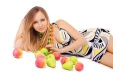 Beauté avec des fruits Photo libre de droits