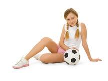 Beauté avec la bille de football Photographie stock libre de droits