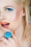 Beauté avec les languettes oranges Image libre de droits
