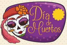 Beauté Catrina avec des fleurs pour le Mexicain et le x22 ; Dia de Muertos et x22 ; Célébration, illustration de vecteur Photographie stock