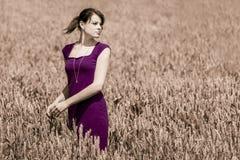 Beauté d'automne dans le champ de maïs avec la robe pourpre Image stock