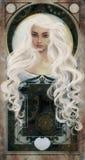 Beauté d'une chevelure blanche au-dessus de fond de novo d'art Photo libre de droits