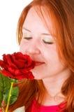 Beauté d'une chevelure rouge Image stock