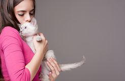 Beauté de brune avec le chaton mignon images libres de droits