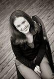 Beauté de l'adolescence en noir et blanc photos stock