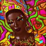 Beauté de l'Afrique Scène numérique colorée d'art d'une belle femme africaine, Photo stock