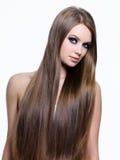 Beauté de long cheveu sain de femme Photos libres de droits